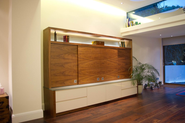 Walnut Lacquer & Glass AV Cabinet  Barnes 2011